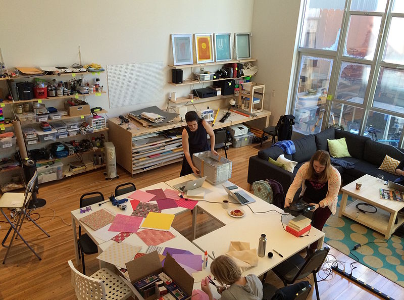 artists studio with two artists working