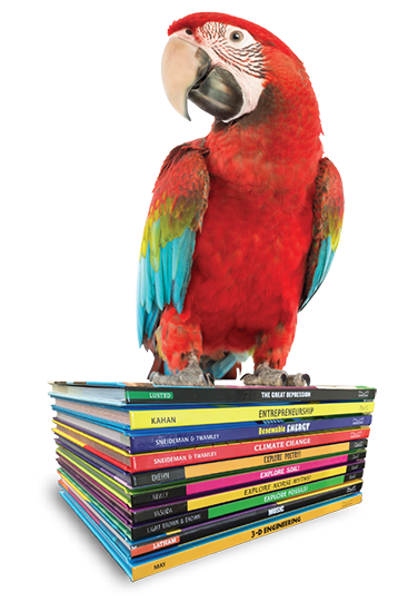 parrot standing on books
