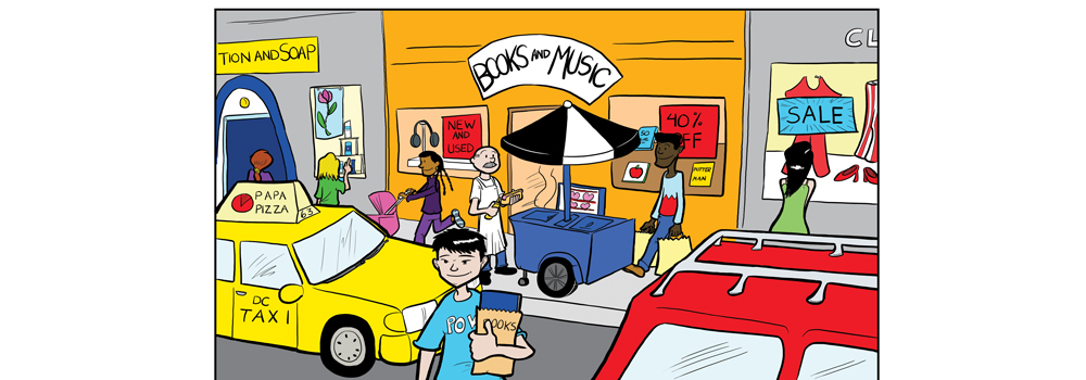 cartoon scene of a city street with a book store and hotdog cart