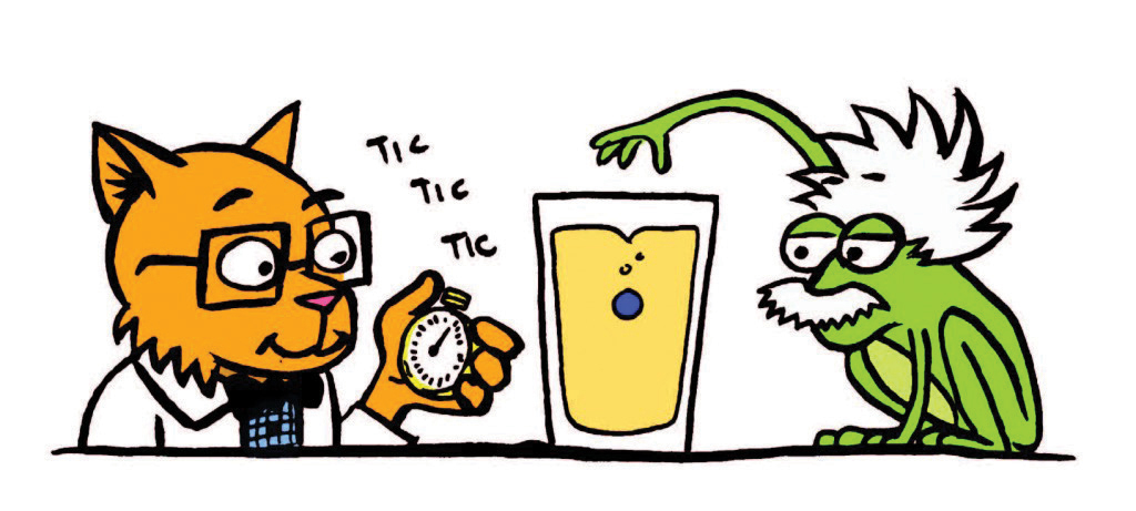 frog and cat performing science experiment with timer and glass full of liquid