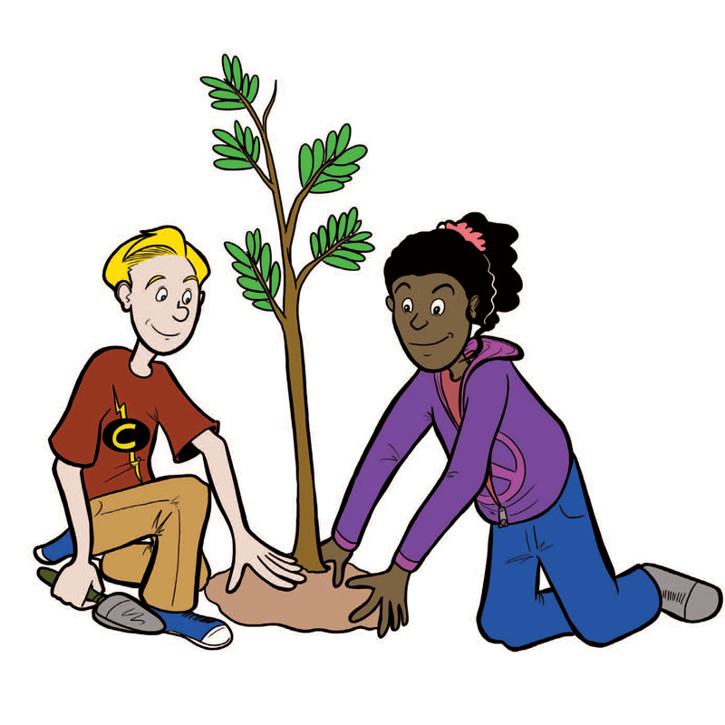 Two teenages planting a young sapling tree