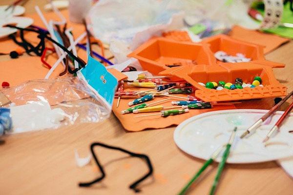 art supplies in bright classroom