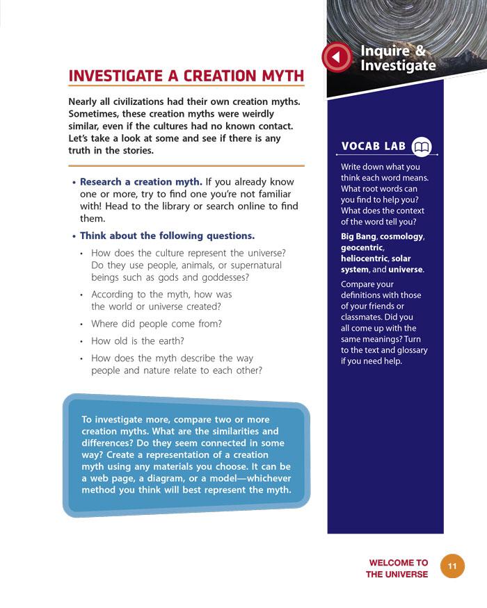 Investigate a Creation Myth