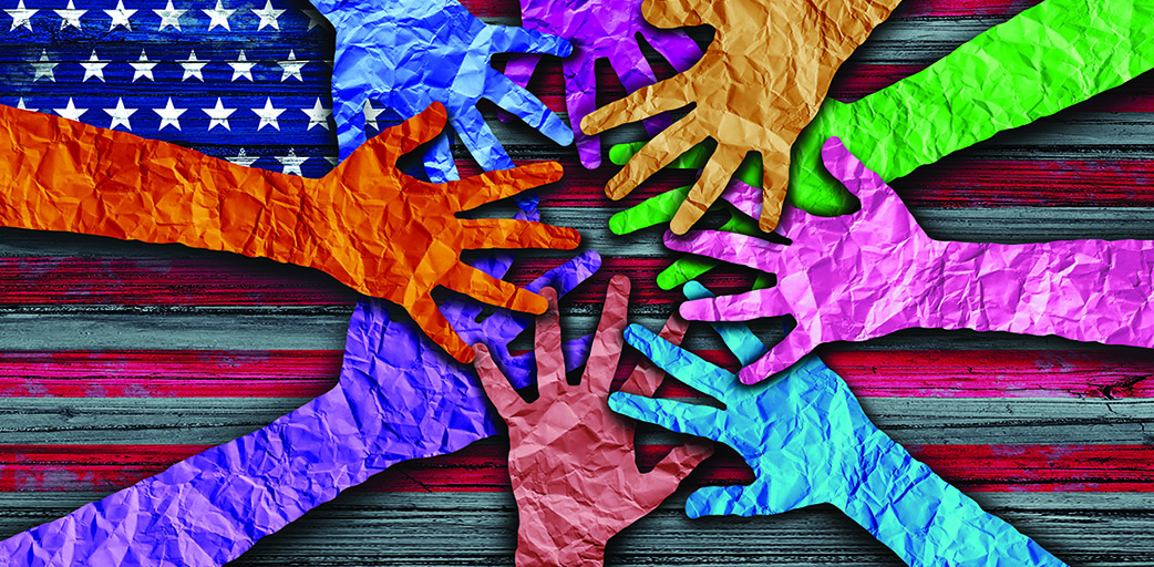 colorful hands on a flag background