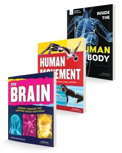 three book covers for human movement, brain, and human body