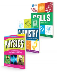 three book covers for chemistry, physics, and cells