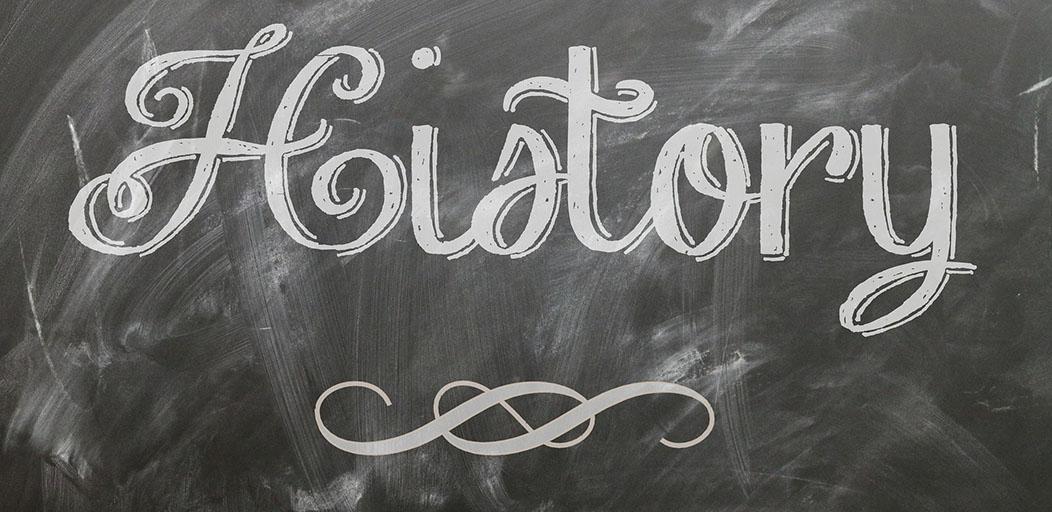 the word history written on a blackboard