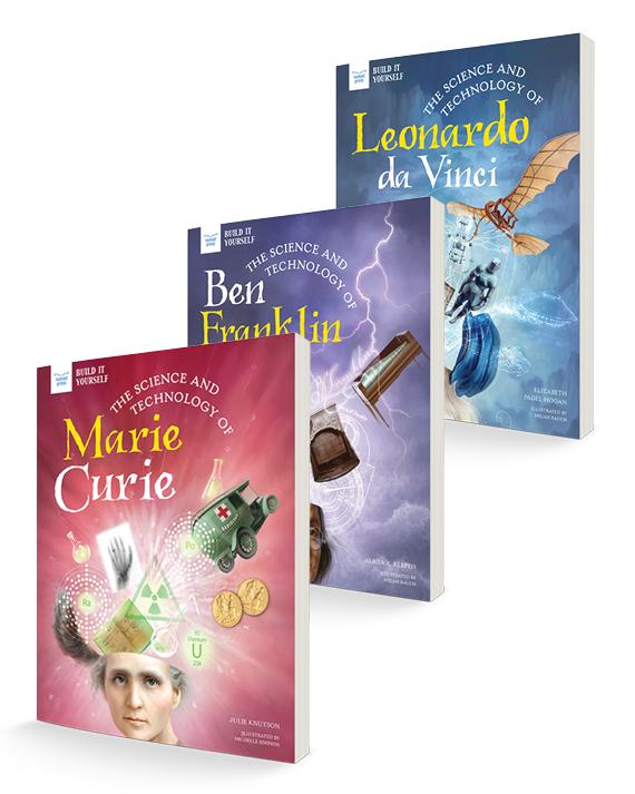three book covers - leonardo da vinci, marie curie, ben franklin