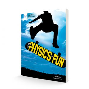 """book standing up with the title """"Physics of Fun"""""""