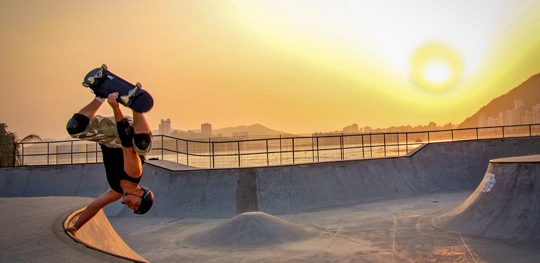skatebaorder against a sunset